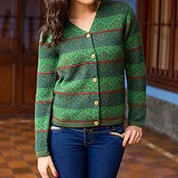 100% alpaca cardigan, 'Andean Evergreen' - Knitted Green Alpaca Cardigan Sweater from Peru