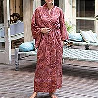 Cotton batik robe, 'Earth Dancer'