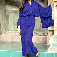 Batik robe, 'Kimono of Blue-Violet Orchids' - Blue Violet Women's Batik Robe from Indonesia