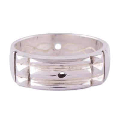 Silver band ring, 'Atlantis Power' - Artisan Crafted 950 Silver Atlantis Band Ring from Peru