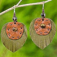Tiger's eye and leather dangle earrings, 'Aurora Leaves' - Hand Crafted Tiger's Eye and Leather Leaf Dangle Earrings