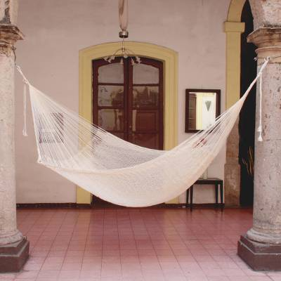 Cotton hammock, 'Natural Comfort' (single) - Handcrafted Cotton Solid Mayan Hammock (Single)
