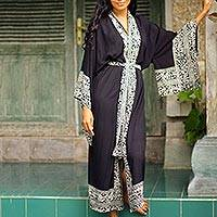 Batik robe, Midnight Rose