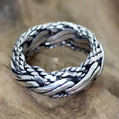 Men's sterling silver ring, 'Reptilian' - Men's sterling silver ring