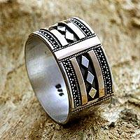 Gold accented sterling silver ring, 'Warrior's Path' - Handcrafted Gold Accent and Silver Band Ring