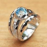 Blue topaz cocktail ring, 'Sparkling Pool' - Blue Topaz Handcrafted Sterling Silver Ring from Bali