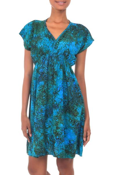 Batik rayon dress, 'Java Emerald' - Artisan Crafted Fresh Green Blue Batik Rayon Short Dress