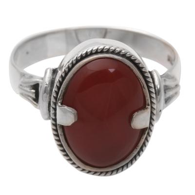 Men's carnelian ring, 'Dragon Eye' - Men's Unique Sterling Silver and Carnelian Ring