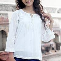 Cotton tunic, 'Mandala White' - Handcrafted Indian Cotton Solid Tunic Top