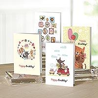 UNICEF Children's birthday cards (set of 12) - Felines and Friends Celebrate UNICEF Birthday Cards (12)