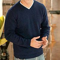 Alpaca blend men's sweater, 'Blue Favorite Memories' - Men's Alpaca Blend V Neck Sweater