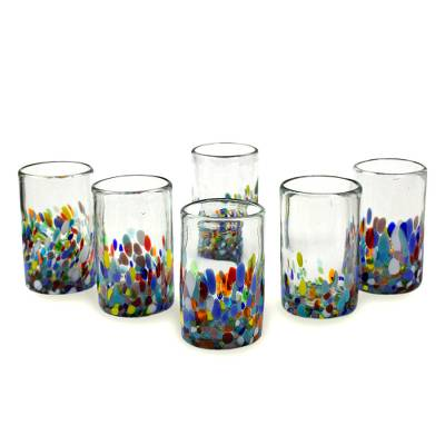 Blown glass tumblers, 'Confetti' (set of 6) - Handblown Recycled Glass Tumbler Drinkware (Set of 6)