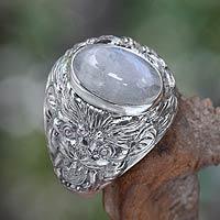 Men's rainbow moonstone ring, 'Lion's Charisma' - Men's Sterling Silver and Rainbow Moonstone Ring