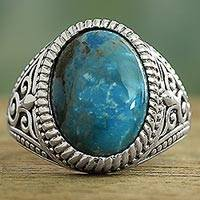 Sterling silver single-stone ring, 'Radiant Blue Beauty'
