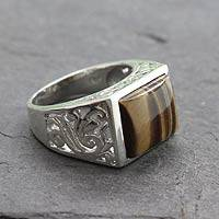 Men's tiger's eye ring, 'Warmth'
