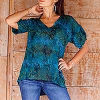 Rayon batik blouse, 'Bali Kenanga' - Hand Stamped Rayon Batik Floral Blouse from Bali
