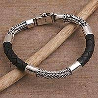 Men's sterling silver and leather bracelet, 'Stay Strong' - Handmade Silver and Leather Men's Bracelet from Bali