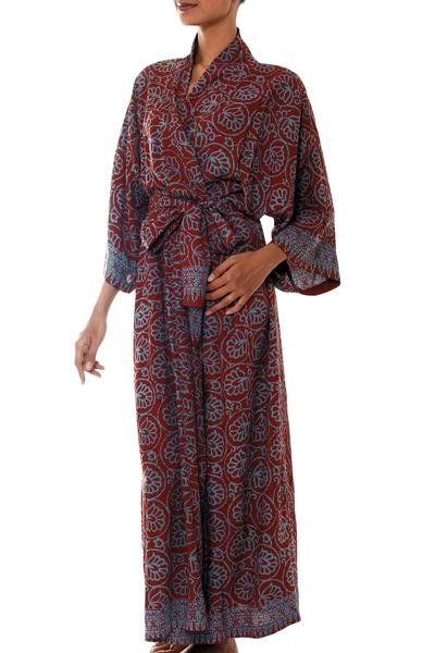 Rayon batik robe, 'Morning Aster' - Women's Grey and Burgundy Hand Stamped Batik Belted  Robe