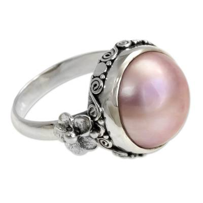 Pearl flower ring, 'Love Moon' - Floral Sterling Silver and Pearl Cocktail Ring