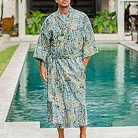 Men's cotton batik robe, 'Bull Snake' - Men's Hand Made Batik Robe