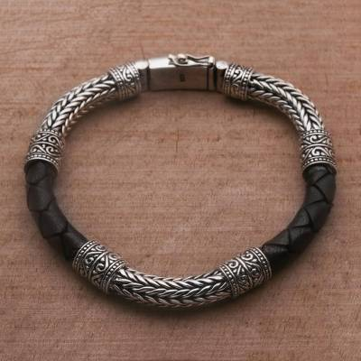 Mens sterling silver and leather bracelet, Royal Weave in Black