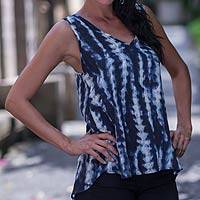 Sleeveless top, 'Ocean Wave' - Blue and White Sleeveless Rayon Top