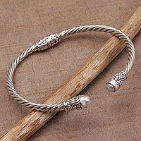 Cultured pearl cuff bracelet, 'Spiral Temple'