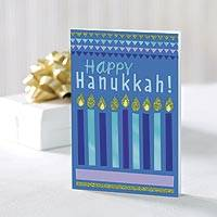 UNICEF holiday cards, 'Hanukkah Festival of Lights' (set of 12) - UNICEF Hanukkah Holiday Cards Boxed Set of 12
