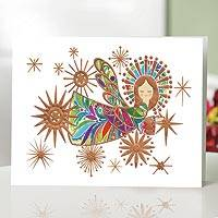 UNICEF holiday cards, 'Joyful Angel' (set of 12) - Embossed UNICEF Holiday Cards with Angels (Set of 12)