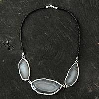Agate pendant necklace, 'Earth Blessing' - Handcrafted Brazilian Agate Necklace with Black Leather Cord