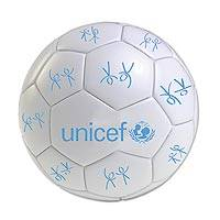 UNICEF mini soccer ball, 'Goal Time in White' - UNICEF Sports Soccer Ball with Logo Size 3