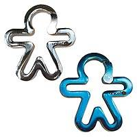 UNICEF key fobs, 'Child's Silhouette' (pair) - UNICEF Silver and Blue Metal Key Fobs (Pair)