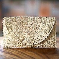 Palm leaf clutch handbag, 'Trance in Ivory'