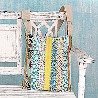 Embellished cotton shoulder bag, 'Garden Path'