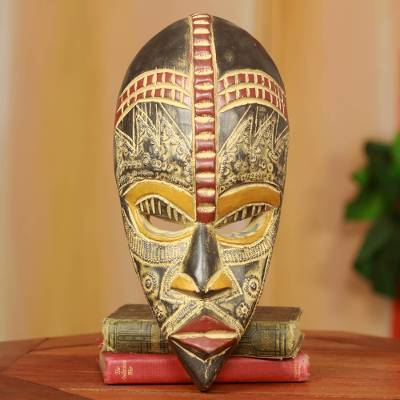 Nigerian wood mask, 'My Beautiful Lover' - Handcrafted Nigerian Wood Mask