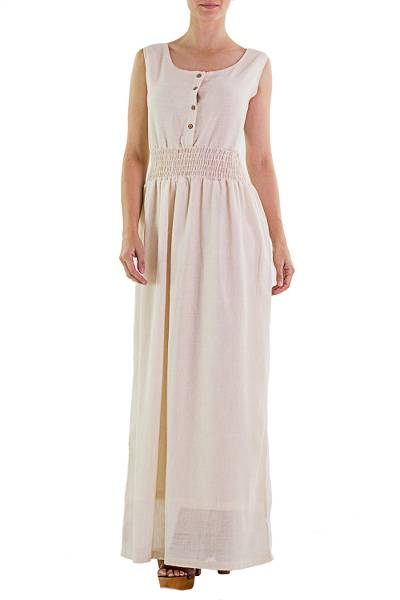 Cotton maxi dress, 'Naturally Modern' - Handmade Sleeveless Cotton Maxi Dress
