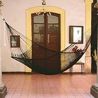 Rope hammock, 'Shadows' (single) - Fair Trade Black Rope Hammock (Single)