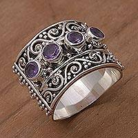 Amethyst cocktail ring, 'Lucky Four' - Amethyst and Sterling Silver Multi-Stone Ring from Bali