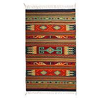 Zapotec wool rug, 'Desert Character' (6.5x10) - Hand Woven Wool Area Rug Geometric Designs Mexico
