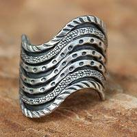 Silver band ring, 'Hmong Rivers' - Unique Silver Band Ring