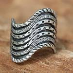 Unique Silver Band Ring, 'Hmong Rivers'