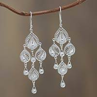 Sterling silver filigree chandelier earrings, 'Sunrise Dew' - Artisan Crafted Silver Filigree Chandelier Hook Earrings