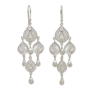 Sterling silver filigree chandelier earrings, 'Sunrise Dew' - Artisan Crafted Silver Filigree Chandelier Hook Earrings