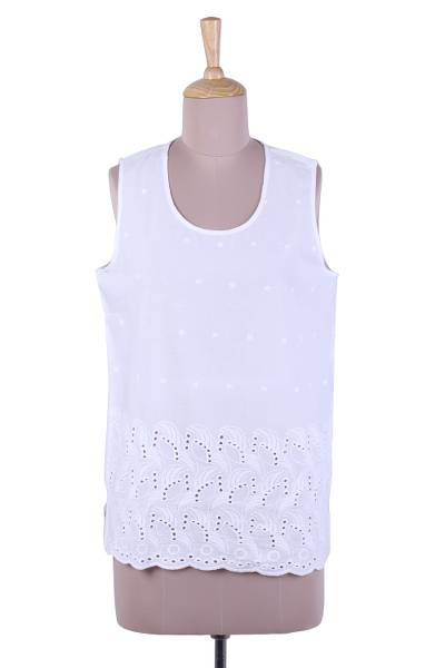 Sleeveless cotton top, 'Summer Charm' - White Cotton Sleeveless Top from India