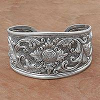 Sterling silver cuff bracelet, 'Courageous Soul'