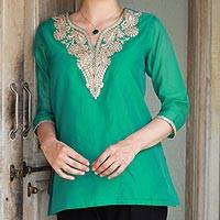 Cotton and silk blend tunic, 'Sea Princess' - Sea Green Silk and Cotton Tunic with Golden Embroidery