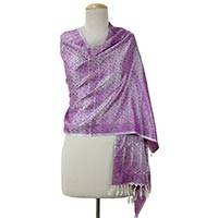 Varanasi silk shawl, 'Purple Passion' - White and Purple Indian Silk Shawl with Paisley and Flowers