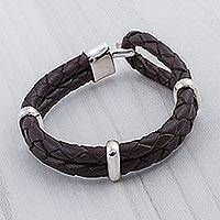 Men's braided leather bracelet, 'Desert Paths' - Men's Sterling Silver and Leather Wristband Bracelet