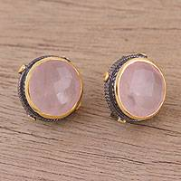 Gold accented rose quartz button earrings, 'Radiant Unity' - Gold Accent Rose Quartz and Sterling Silver Button Earrings
