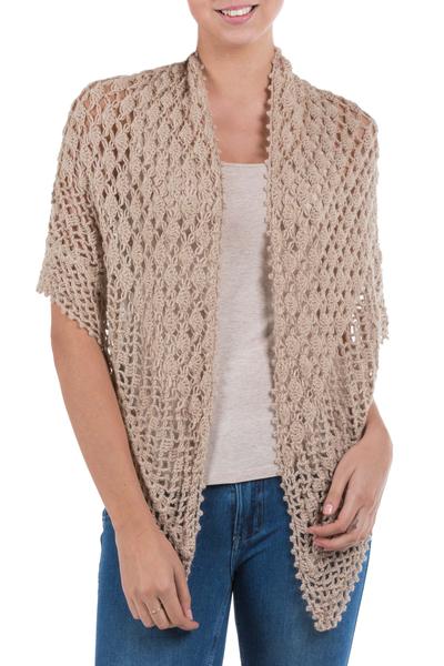 100% alpaca shawl, 'Lady of Chachapoyas' - Hand Crafted Alpaca Wool Crochet Shawl